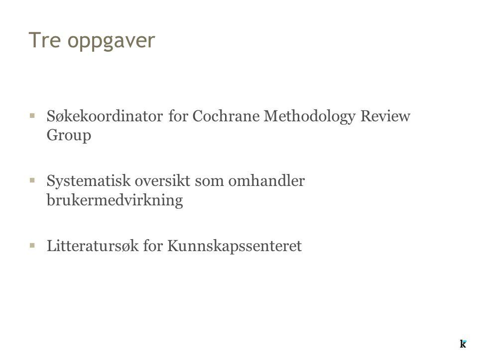 Tre oppgaver  Søkekoordinator for Cochrane Methodology Review Group  Systematisk oversikt som omhandler brukermedvirkning  Litteratursøk for Kunnsk