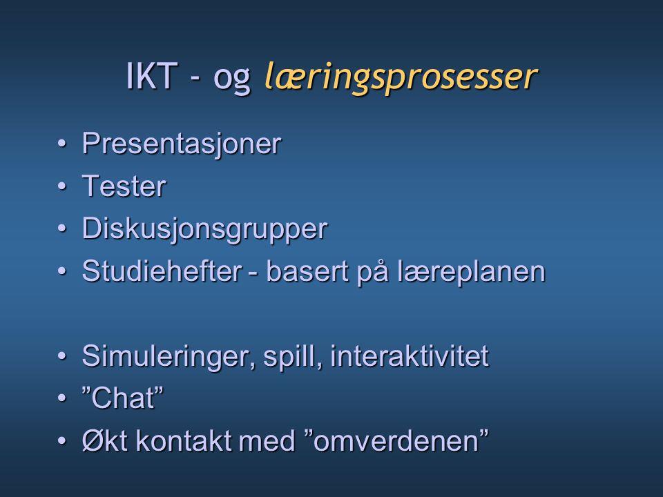 IKT - og læringsprosesser PresentasjonerPresentasjoner TesterTester DiskusjonsgrupperDiskusjonsgrupper Studiehefter - basert på læreplanenStudiehefter