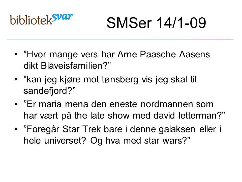 "SMSer 14/1-09 ""Hvor mange vers har Arne Paasche Aasens dikt Blåveisfamilien?"" ""kan jeg kjøre mot tønsberg vis jeg skal til sandefjord?"" ""Er maria mena"