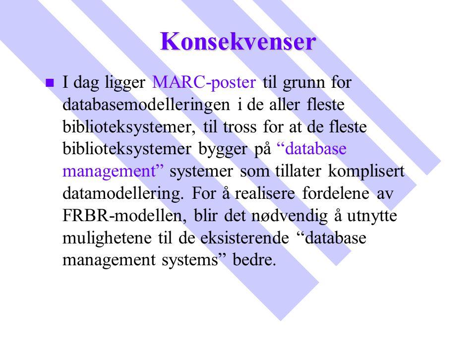 Konsekvenser n n I dag ligger MARC-poster til grunn for databasemodelleringen i de aller fleste biblioteksystemer, til tross for at de fleste bibliote