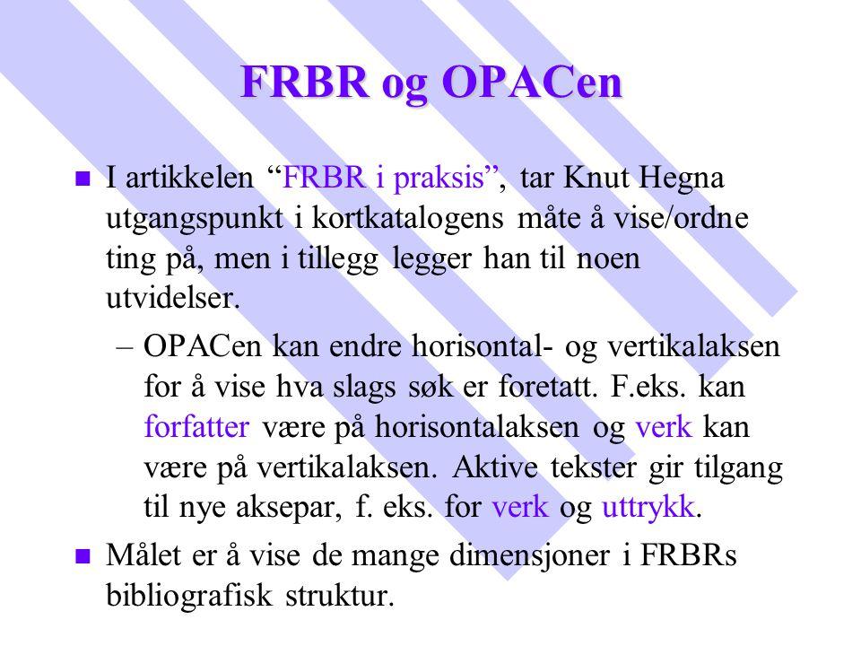 """FRBR og OPACen n n I artikkelen """"FRBR i praksis"""", tar Knut Hegna utgangspunkt i kortkatalogens måte å vise/ordne ting på, men i tillegg legger han til"""