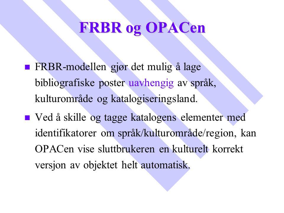 FRBR og OPACen n n FRBR-modellen gjør det mulig å lage bibliografiske poster uavhengig av språk, kulturområde og katalogiseringsland. n n Ved å skille