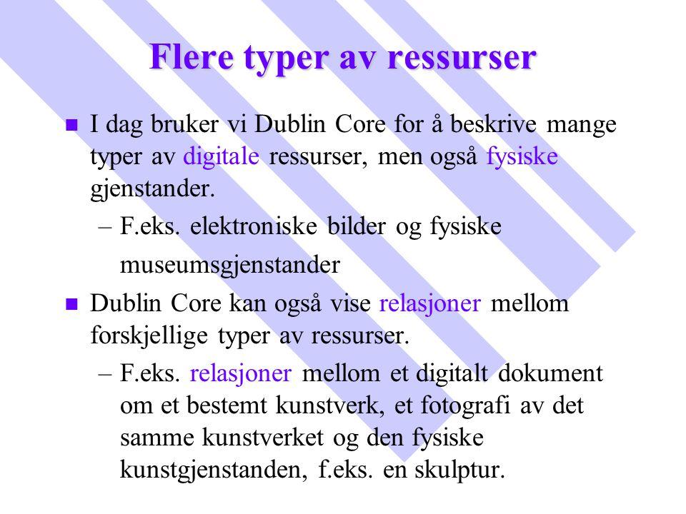 Flere typer av ressurser n n I dag bruker vi Dublin Core for å beskrive mange typer av digitale ressurser, men også fysiske gjenstander. – –F.eks. ele