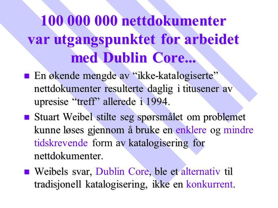 """100 000 000 nettdokumenter var utgangspunktet for arbeidet med Dublin Core... n En økende mengde av """"ikke-katalogiserte"""" nettdokumenter resulterte dag"""