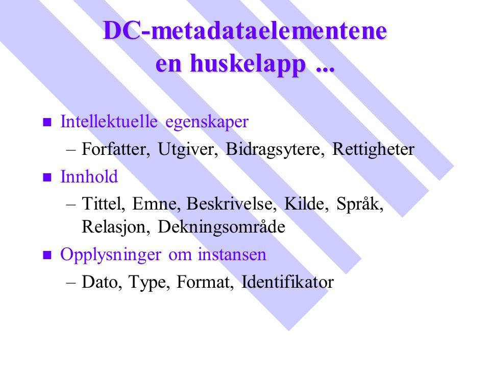 DC-metadataelementene en huskelapp... n n Intellektuelle egenskaper – –Forfatter, Utgiver, Bidragsytere, Rettigheter n n Innhold – –Tittel, Emne, Besk