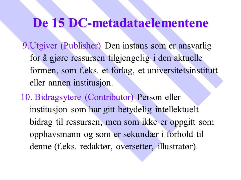 De 15 DC-metadataelementene 9.Utgiver (Publisher) Den instans som er ansvarlig for å gjøre ressursen tilgjengelig i den aktuelle formen, som f.eks. et