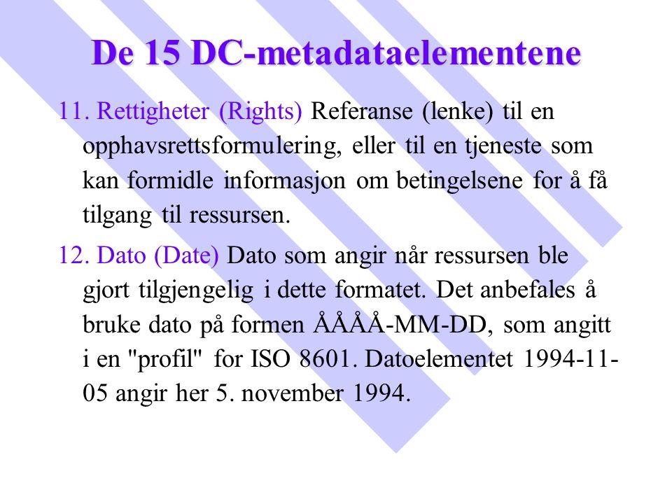 De 15 DC-metadataelementene 11. Rettigheter (Rights) Referanse (lenke) til en opphavsrettsformulering, eller til en tjeneste som kan formidle informas
