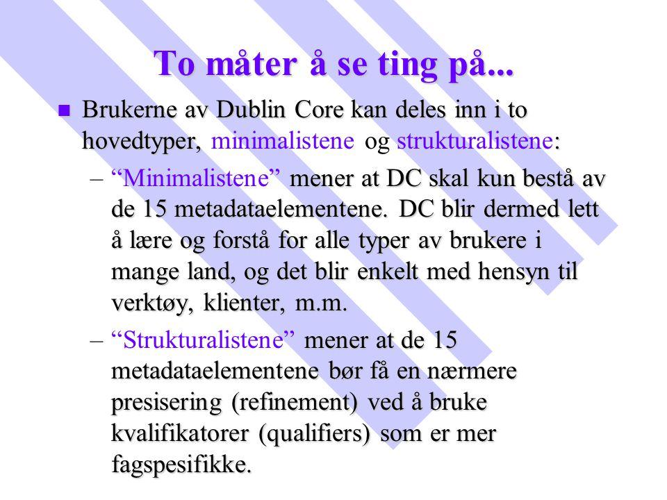 To måter å se ting på... n Brukerne av Dublin Core kan deles inn i to hovedtyper, : n Brukerne av Dublin Core kan deles inn i to hovedtyper, minimalis