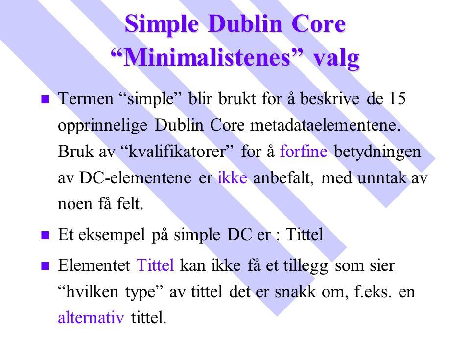 """Simple Dublin Core """"Minimalistenes"""" valg n n Termen """"simple"""" blir brukt for å beskrive de 15 opprinnelige Dublin Core metadataelementene. Bruk av """"kva"""