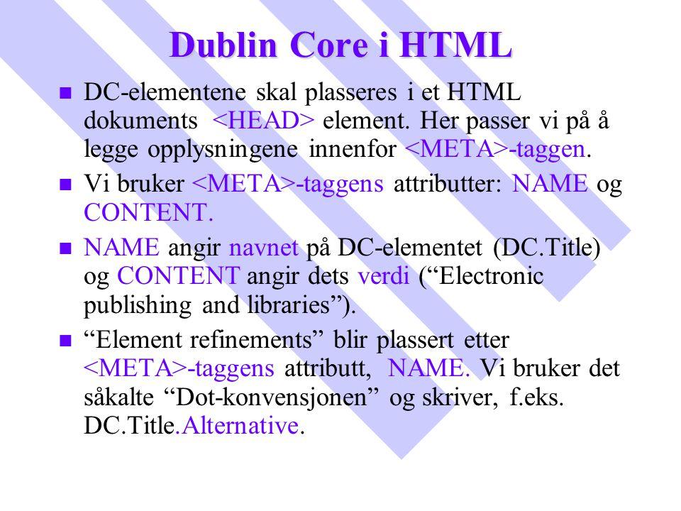 Dublin Core i HTML n n DC-elementene skal plasseres i et HTML dokuments element. Her passer vi på å legge opplysningene innenfor -taggen. n n Vi bruke