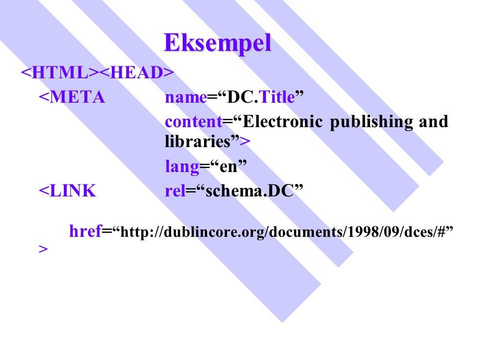 "Eksempel <META name=""DC.Title"" content=""Electronic publishing and libraries""> lang=""en"""