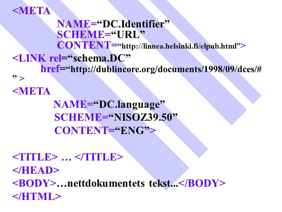 "<META NAME=""DC.Identifier"" SCHEME=""URL"" CONTENT= ""http://linnea.helsinki.fi/elpub.html"" > <META NAME=""DC.language"" SCHEME=""NISOZ39.50"" CONTENT=""ENG"">"