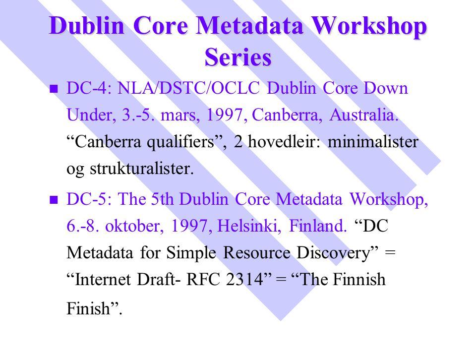 "Dublin Core Metadata Workshop Series n n DC-4: NLA/DSTC/OCLC Dublin Core Down Under, 3.-5. mars, 1997, Canberra, Australia. ""Canberra qualifiers"", 2 h"