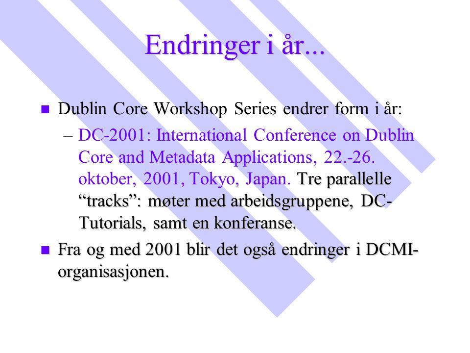 "Endringer i år... n n Dublin Core Workshop Series endrer form i år: – Tre parallelle ""tracks"": møter med arbeidsgruppene, DC- Tutorials, samt en konfe"
