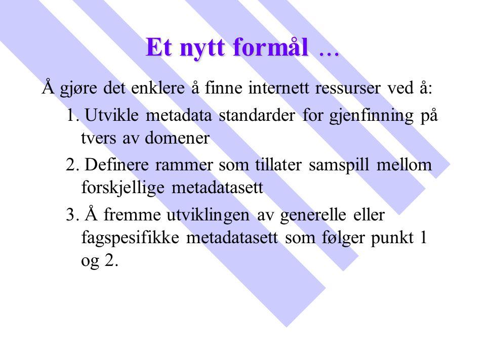 Et nytt formål... Å gjøre det enklere å finne internett ressurser ved å: 1. Utvikle metadata standarder for gjenfinning på tvers av domener 2. Definer
