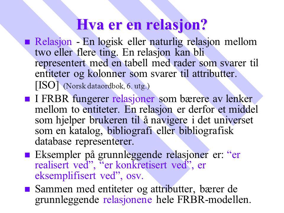 Hva er en relasjon? n n Relasjon - En logisk eller naturlig relasjon mellom two eller flere ting. En relasjon kan bli representert med en tabell med r
