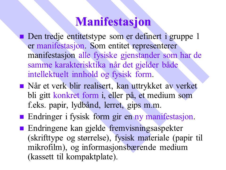 Manifestasjon n n Den tredje entitetstype som er definert i gruppe 1 er manifestasjon. Som entitet representerer manifestasjon alle fysiske gjenstande
