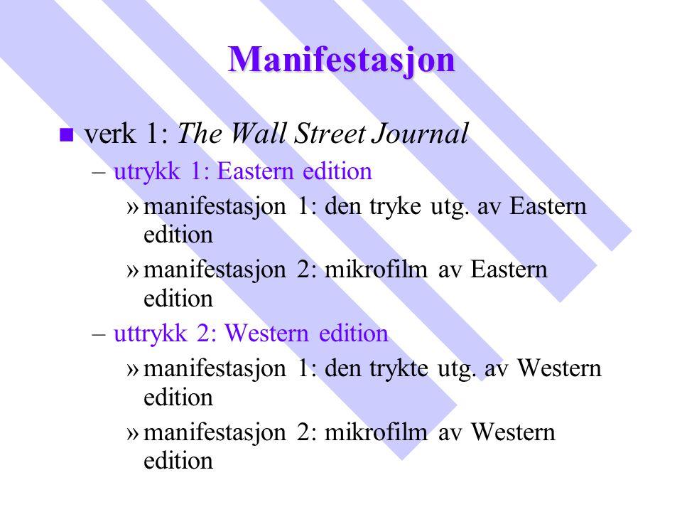 Manifestasjon n n verk 1: The Wall Street Journal – –utrykk 1: Eastern edition » »manifestasjon 1: den tryke utg. av Eastern edition » »manifestasjon