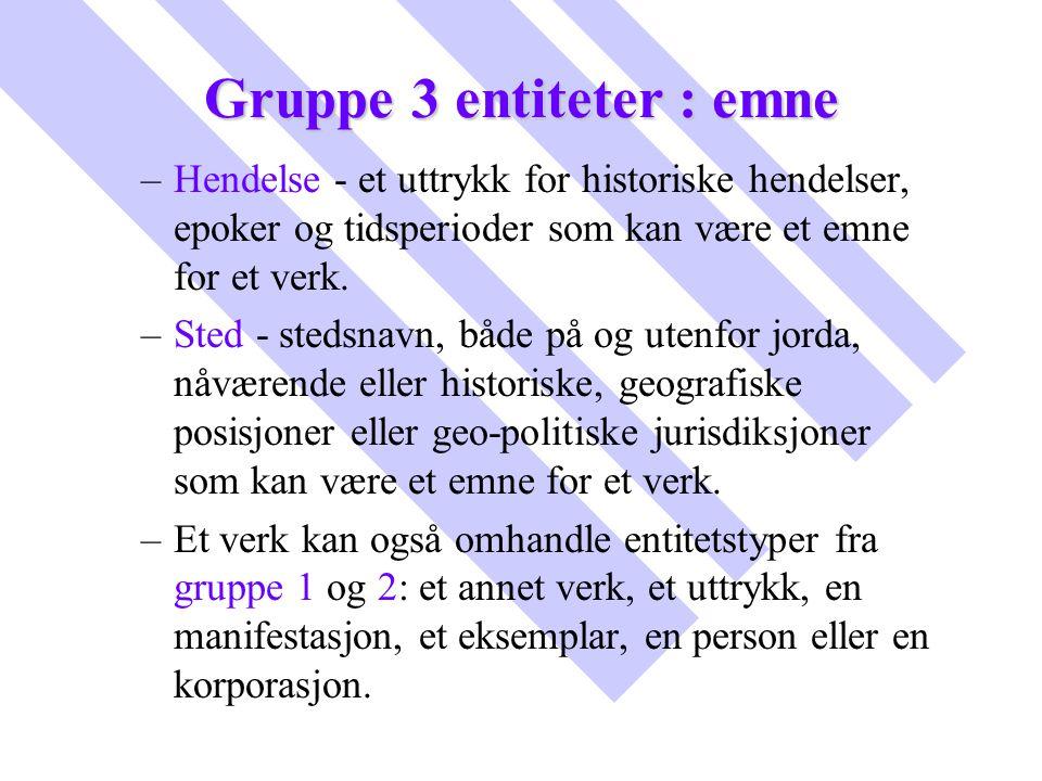 Gruppe 3 entiteter : emne – –Hendelse - et uttrykk for historiske hendelser, epoker og tidsperioder som kan være et emne for et verk. – –Sted - stedsn