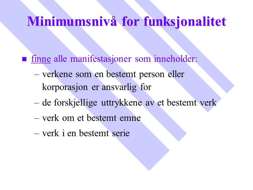 Minimumsnivå for funksjonalitet n n finne alle manifestasjoner som inneholder: – –verkene som en bestemt person eller korporasjon er ansvarlig for – –