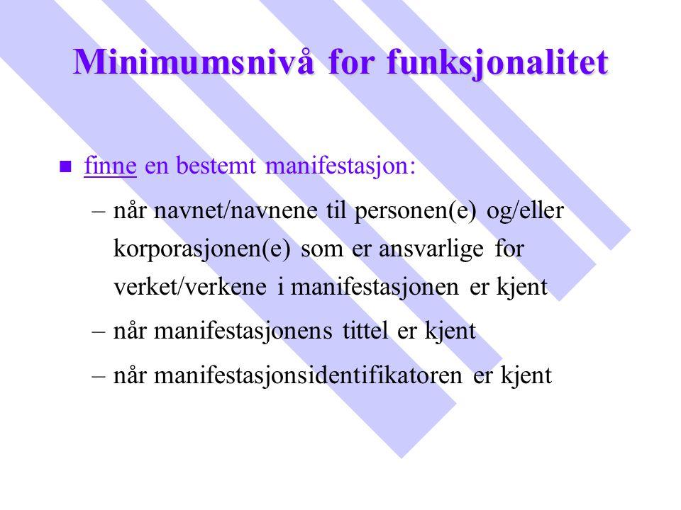 Minimumsnivå for funksjonalitet n n finne en bestemt manifestasjon: – –når navnet/navnene til personen(e) og/eller korporasjonen(e) som er ansvarlige