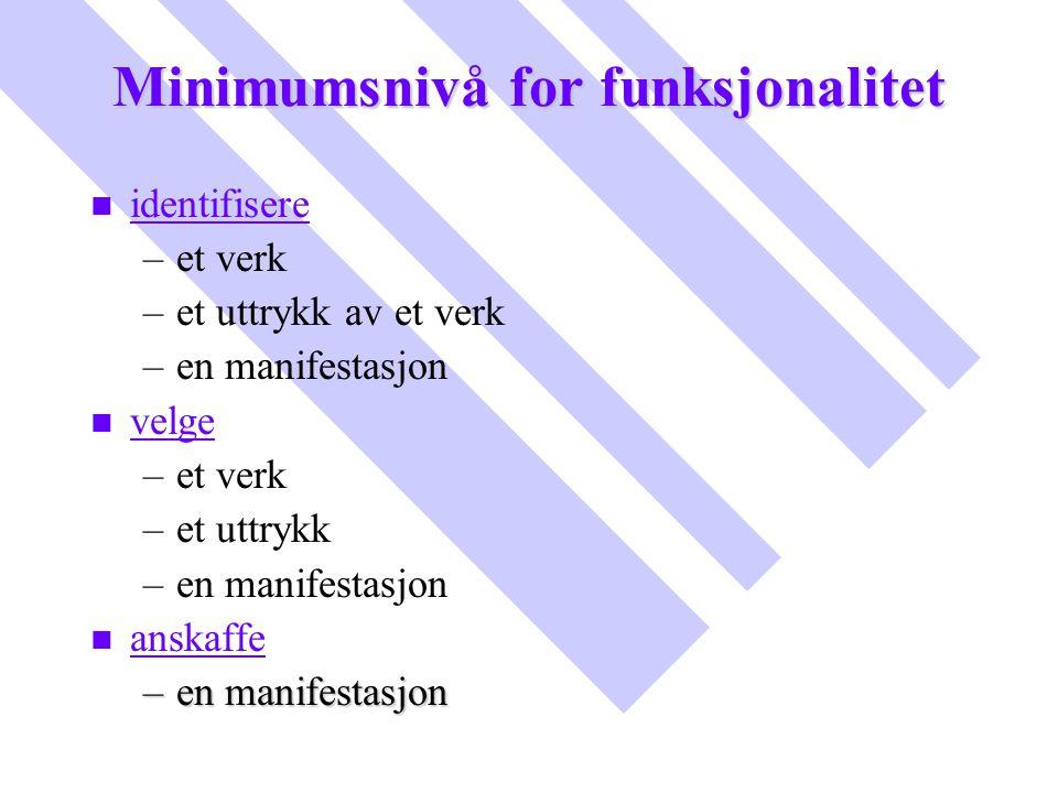 Minimumsnivå for funksjonalitet n n identifisere – –et verk – –et uttrykk av et verk – –en manifestasjon n n velge – –et verk – –et uttrykk – –en mani
