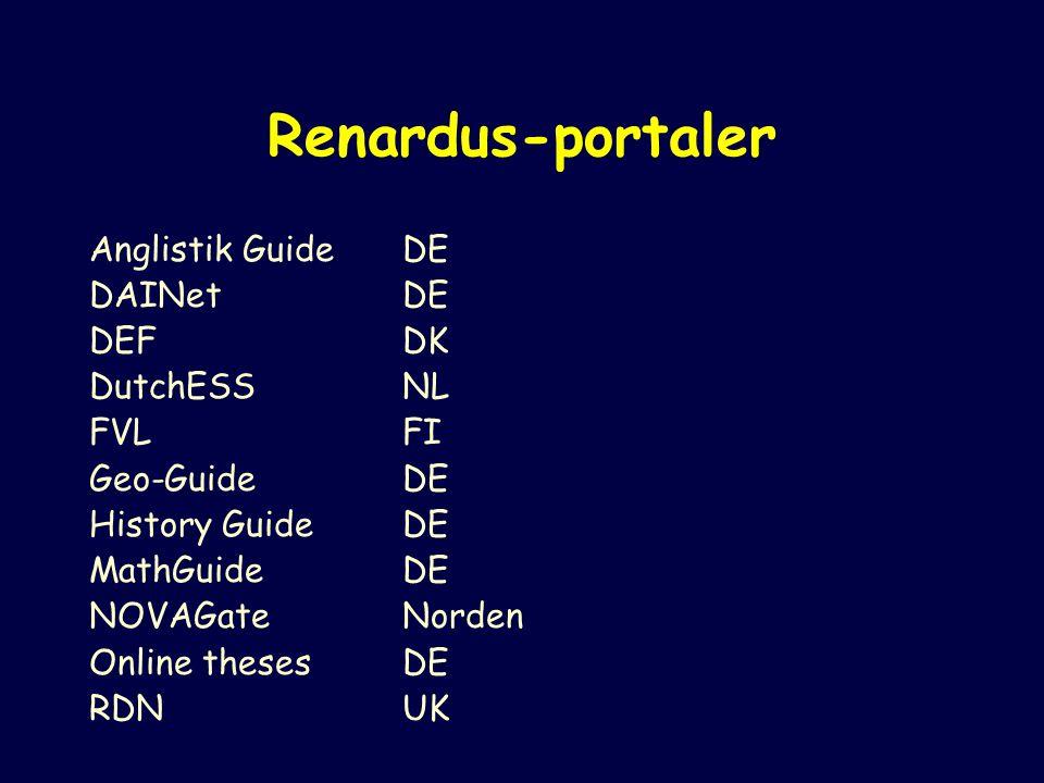 Renardus-portaler Anglistik GuideDE DAINet DE DEFDK DutchESSNL FVLFI Geo-GuideDE History GuideDE MathGuideDE NOVAGateNorden Online thesesDE RDNUK