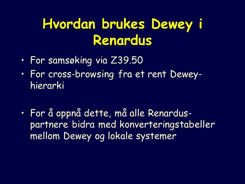 Hvordan brukes Dewey i Renardus For samsøking via Z39.50 For cross-browsing fra et rent Dewey- hierarki For å oppnå dette, må alle Renardus- partnere bidra med konverteringstabeller mellom Dewey og lokale systemer