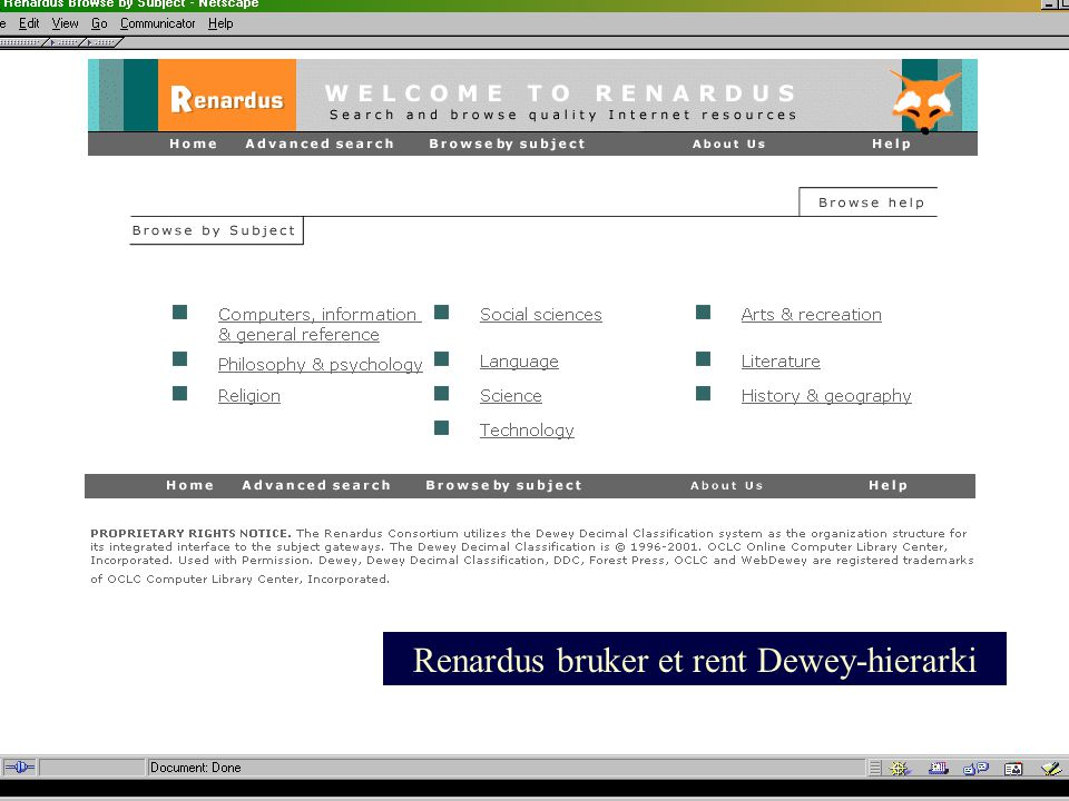 Renardus bruker et rent Dewey-hierarki