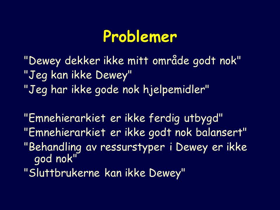 Problemer Dewey dekker ikke mitt område godt nok Jeg kan ikke Dewey Jeg har ikke gode nok hjelpemidler Emnehierarkiet er ikke ferdig utbygd Emnehierarkiet er ikke godt nok balansert Behandling av ressurstyper i Dewey er ikke god nok Sluttbrukerne kan ikke Dewey