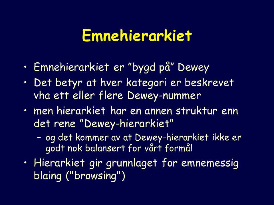 Emnehierarkiet Emnehierarkiet er bygd på Dewey Det betyr at hver kategori er beskrevet vha ett eller flere Dewey-nummer men hierarkiet har en annen struktur enn det rene Dewey-hierarkiet –og det kommer av at Dewey-hierarkiet ikke er godt nok balansert for vårt formål Hierarkiet gir grunnlaget for emnemessig blaing ( browsing )
