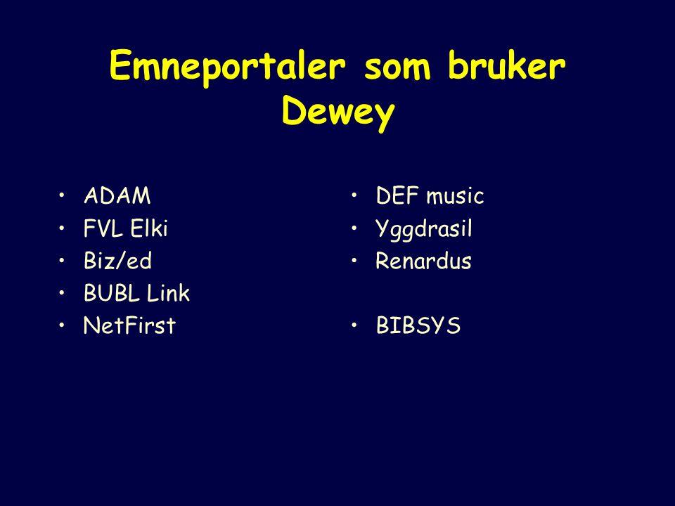Emneportaler som bruker Dewey ADAM FVL Elki Biz/ed BUBL Link NetFirst DEF music Yggdrasil Renardus BIBSYS