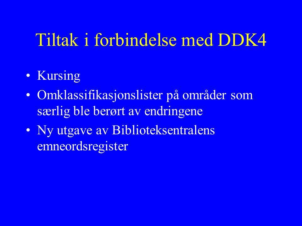 Tiltak i forbindelse med DDK4 Kursing Omklassifikasjonslister på områder som særlig ble berørt av endringene Ny utgave av Biblioteksentralens emneordsregister