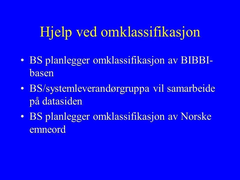 Hjelp ved omklassifikasjon BS planlegger omklassifikasjon av BIBBI- basen BS/systemleverandørgruppa vil samarbeide på datasiden BS planlegger omklassifikasjon av Norske emneord