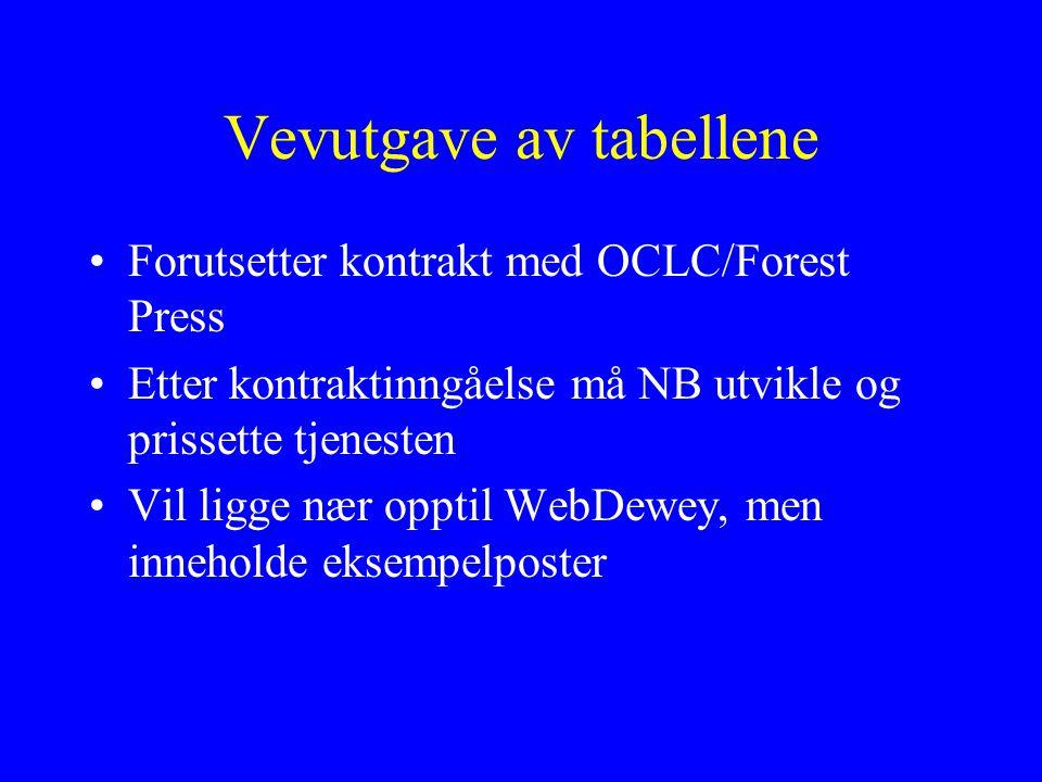 Vevutgave av tabellene Forutsetter kontrakt med OCLC/Forest Press Etter kontraktinngåelse må NB utvikle og prissette tjenesten Vil ligge nær opptil WebDewey, men inneholde eksempelposter