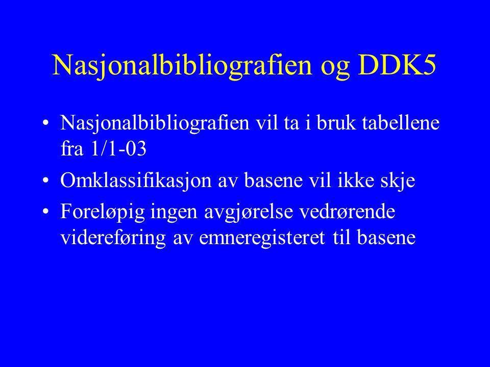 Nasjonalbibliografien og DDK5 Nasjonalbibliografien vil ta i bruk tabellene fra 1/1-03 Omklassifikasjon av basene vil ikke skje Foreløpig ingen avgjørelse vedrørende videreføring av emneregisteret til basene