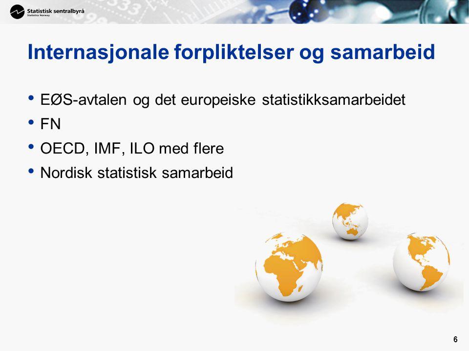 6 Internasjonale forpliktelser og samarbeid EØS-avtalen og det europeiske statistikksamarbeidet FN OECD, IMF, ILO med flere Nordisk statistisk samarbeid