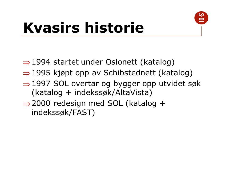Kvasirs historie 1994 startet under Oslonett (katalog) 1995 kjøpt opp av Schibstednett (katalog) 1997 SOL overtar og bygger opp utvidet søk (katalo