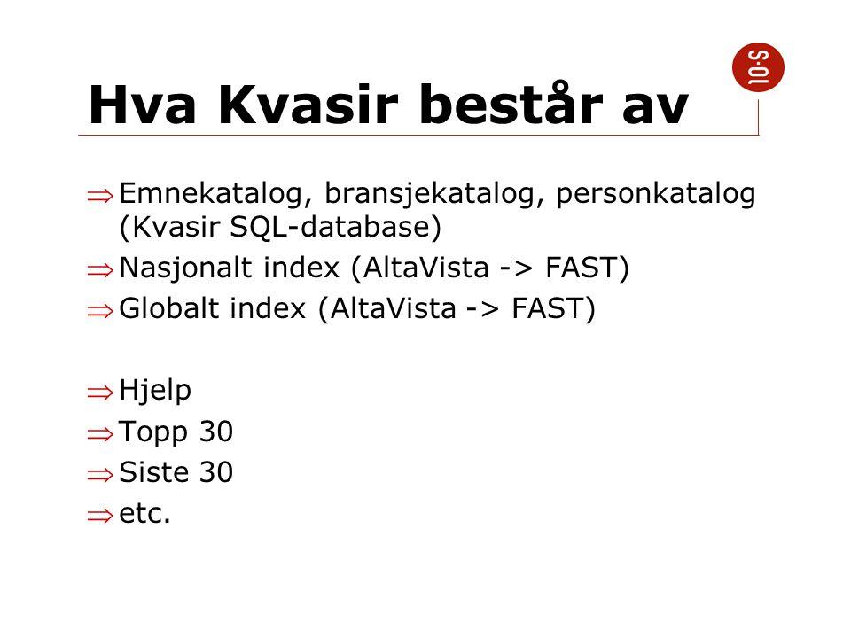 Hva Kvasir består av Emnekatalog, bransjekatalog, personkatalog (Kvasir SQL-database) Nasjonalt index (AltaVista -> FAST) Globalt index (AltaVista