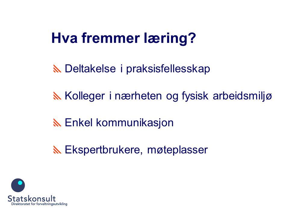Hva fremmer læring?  Deltakelse i praksisfellesskap  Kolleger i nærheten og fysisk arbeidsmiljø  Enkel kommunikasjon  Ekspertbrukere, møteplasser