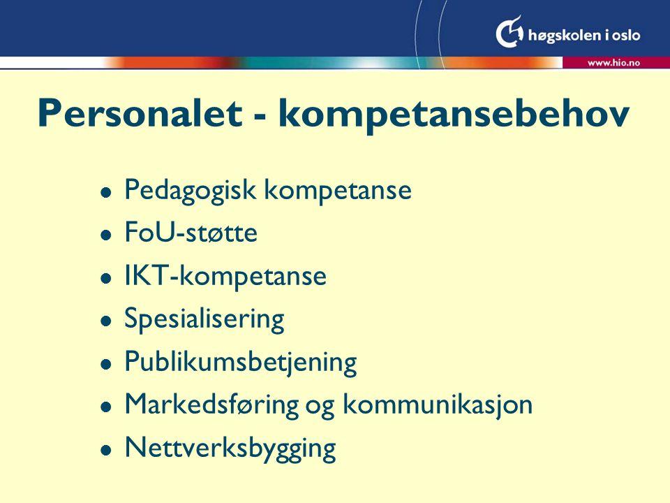 Personalet - kompetansebehov l Pedagogisk kompetanse l FoU-støtte l IKT-kompetanse l Spesialisering l Publikumsbetjening l Markedsføring og kommunikasjon l Nettverksbygging