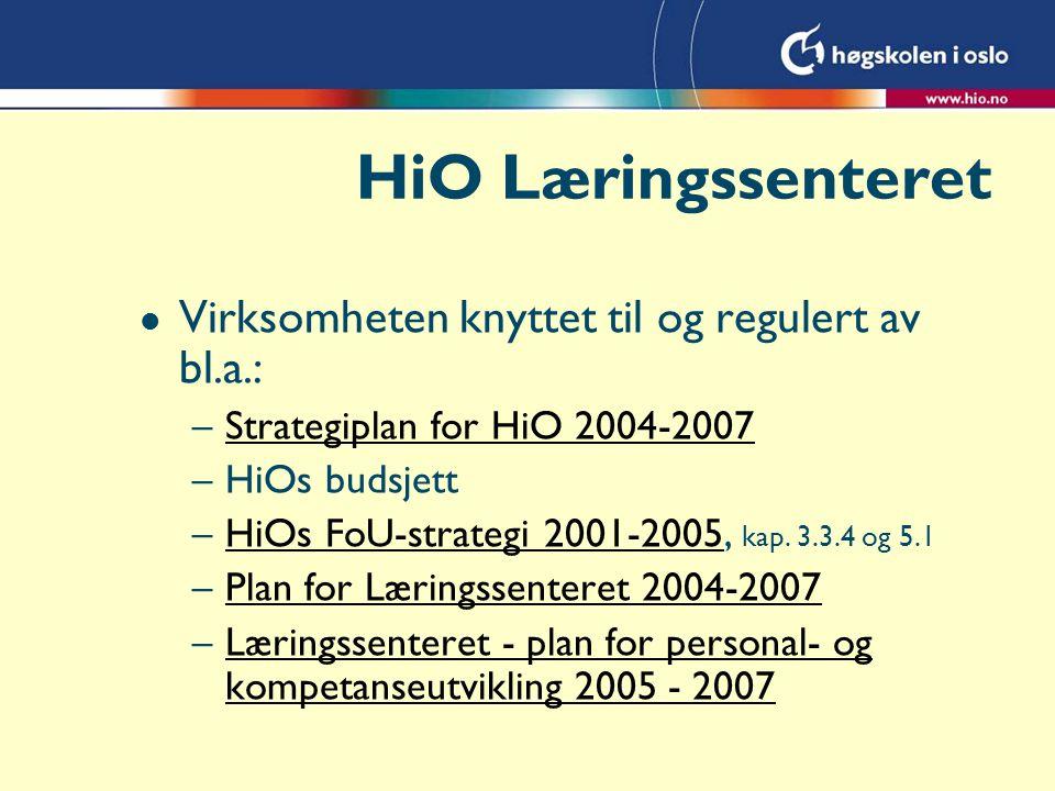 l Virksomheten knyttet til og regulert av bl.a.: –Strategiplan for HiO 2004-2007Strategiplan for HiO 2004-2007 –HiOs budsjett –HiOs FoU-strategi 2001-2005, kap.