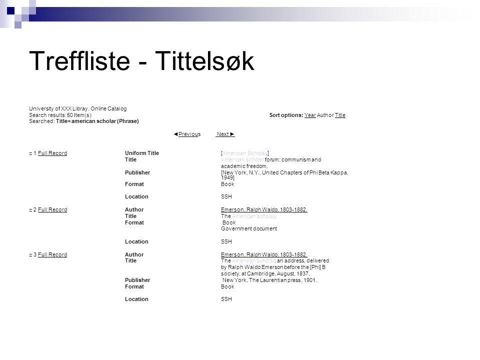 Treffliste - Tittelsøk University of XXX Libray. Online Catalog Search results: 50 Item(s) Sort options: Year Author Title Searched: Title= american s