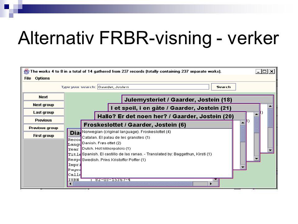 Alternativ FRBR-visning - verker