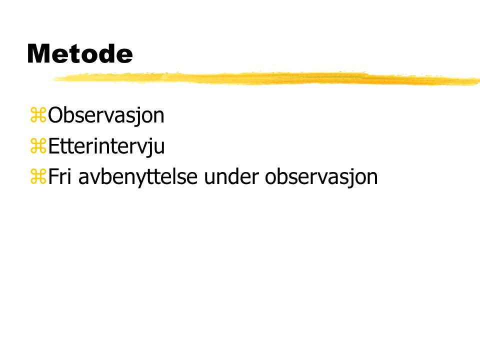 Metode zObservasjon zEtterintervju zFri avbenyttelse under observasjon