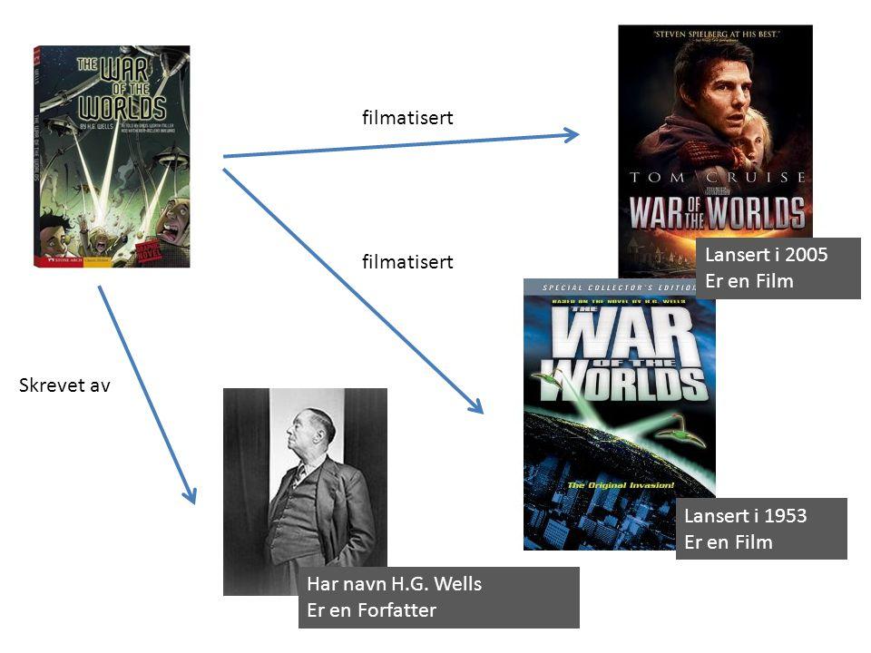 Lansert i 1953 Er en Film Lansert i 2005 Er en Film filmatisert Har navn H.G. Wells Er en Forfatter Skrevet av