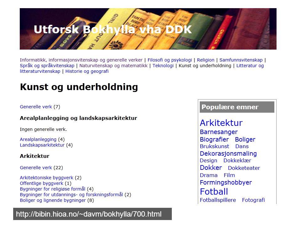 http://bibin.hioa.no/~davm/bokhylla/700.html