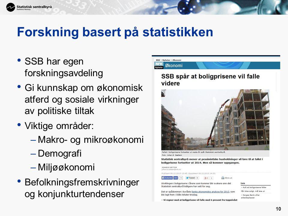 Forskning basert på statistikken SSB har egen forskningsavdeling Gi kunnskap om økonomisk atferd og sosiale virkninger av politiske tiltak Viktige omr