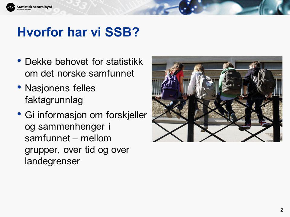 Hvorfor har vi SSB? Dekke behovet for statistikk om det norske samfunnet Nasjonens felles faktagrunnlag Gi informasjon om forskjeller og sammenhenger