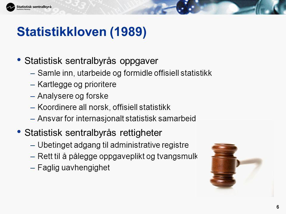6 Statistikkloven (1989) Statistisk sentralbyrås oppgaver –Samle inn, utarbeide og formidle offisiell statistikk –Kartlegge og prioritere –Analysere o